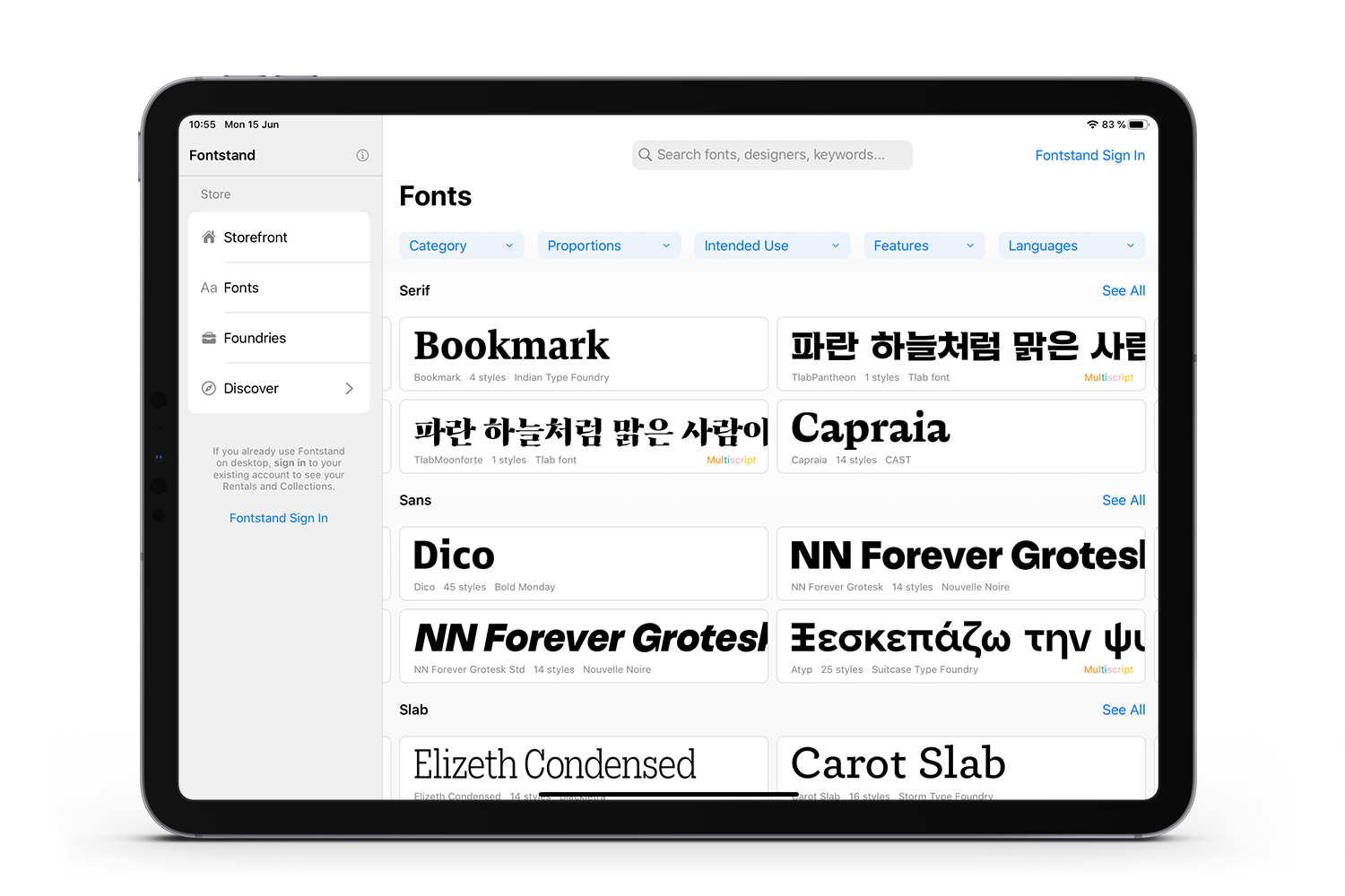 Fontstand iPad Application